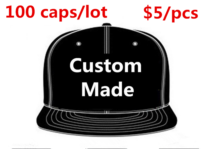 Wholesale 100pcs lot Custom Made Baseball Caps Embroidery 6 Panels Snapback Adult Unisex Team Hats Gorras