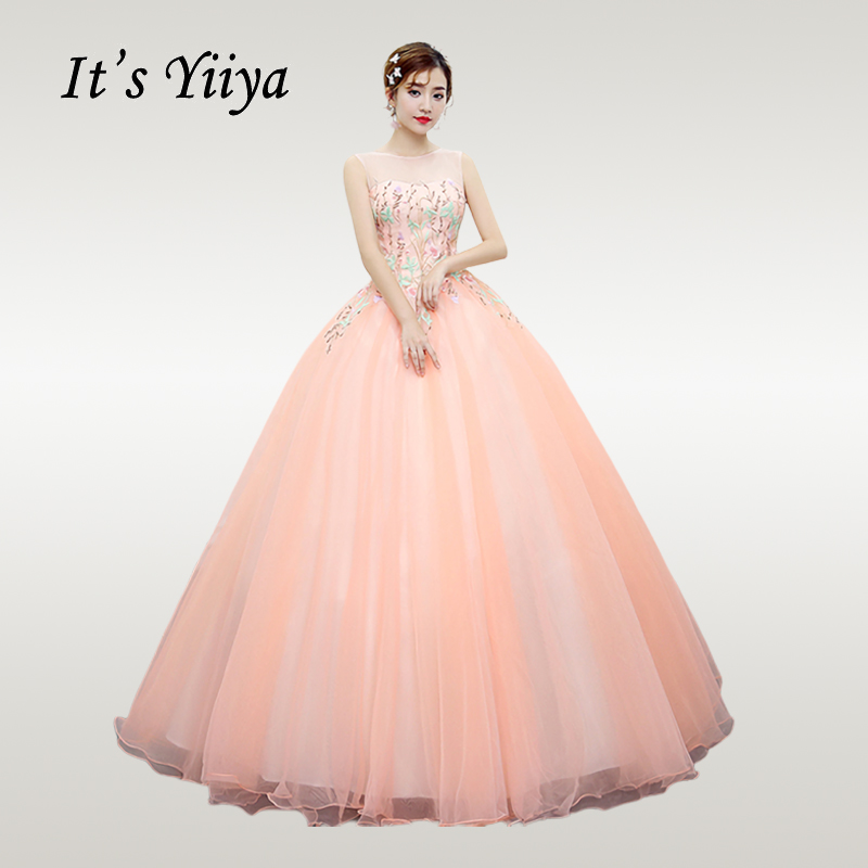 It's YiiYa Wedding Dress Plus Size O-neck Elegant Wedding Gowns Embroidery Sleeveless Pink Vestido De Novia Free Shipping CH033