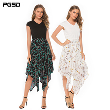 PGSD New Summer casual Office lady Printed stitching short-sleeved V-collar Elegant Irregular hem dress Fashion women clothes