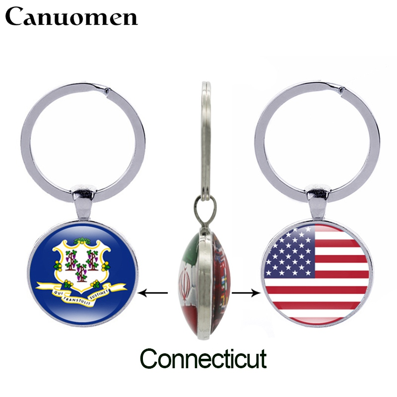 California State Flag Acrylic Key Ring 2 Sizes Double Sided  Wholesale Lots