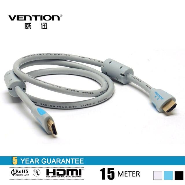 15 м льда синий цвет двойной магнит кольцо HDMI кабель High Speed 1.4 мужчинами 19 pin HDMI кабель vention