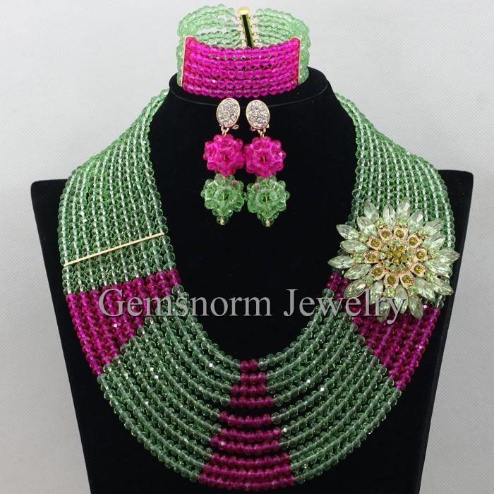 Fashion Lime Green Nigerian Wedding African Beads Jewelry Set Lemon Green Fushia Women Crystal Necklace Set Free Shipping WB760