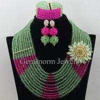 Mode de Vert Mariage Nigérian Perles Africaines Ensemble de Bijoux Citron Vert Fushia Femmes Collier En Cristal Set Livraison Gratuite WB760
