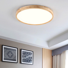 Ultra-thin modern wood ceiling lamp Solid wood acrylic LED ceiling lamp Living room bedroom aisle light + Remote contro