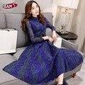 Nova 2016 mulheres moda primavera bordado Floral de cinto túnica de manga comprida camisa do Vintage elegante