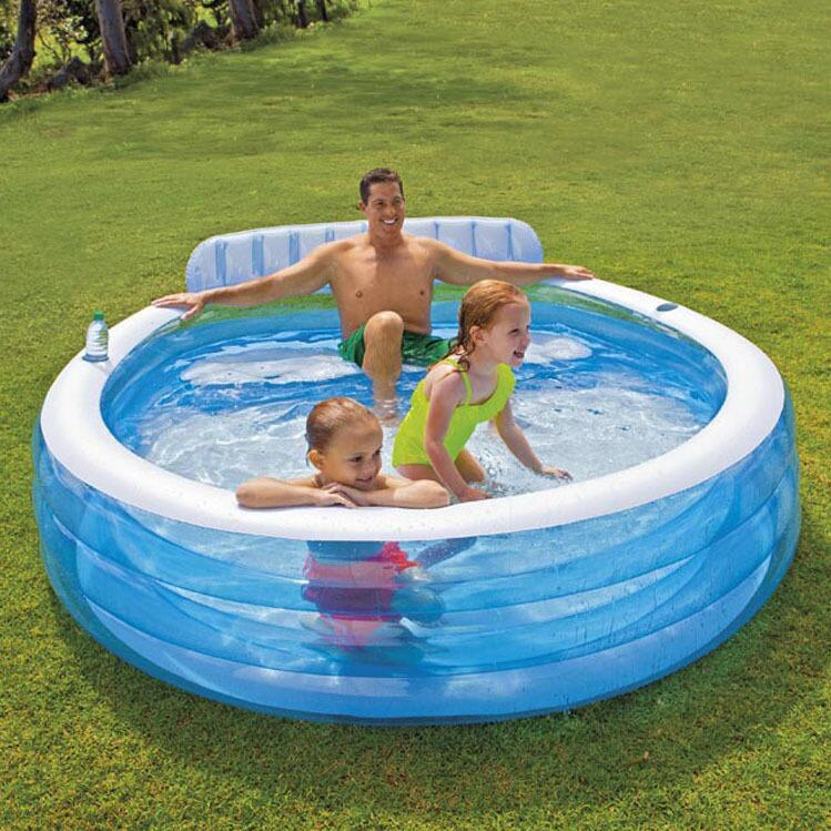 INTEX57190 new family of transparent inflatable pool swimming pool children's wading pool ball pool aquarium size 224 *216 *76cm environmentally friendly pvc inflatable shell water floating row of a variety of swimming pearl shell swimming ring