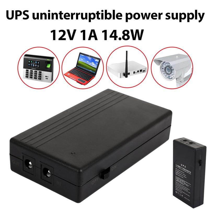 1A 12 V 14.8 W Multiuso Mini UPS Bateria De Backup fonte de Alimentação Fonte de Alimentação Ininterrupta de Energia Em Espera de Segurança Inteligente