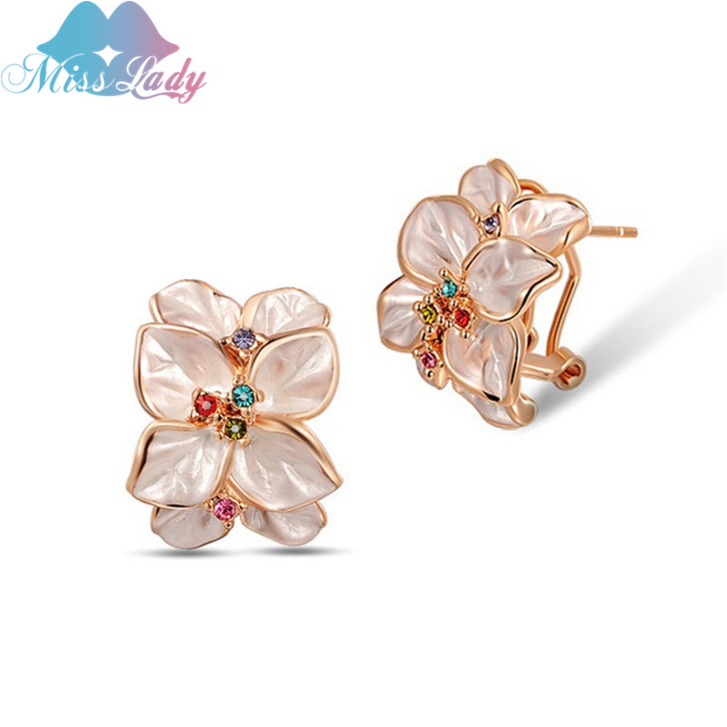 Miss Lady Rose Gold color Rhinestone Crystal Vintage Rose Flower Big Drop / cuelga los pendientes de joyería de moda para mujeres ML011