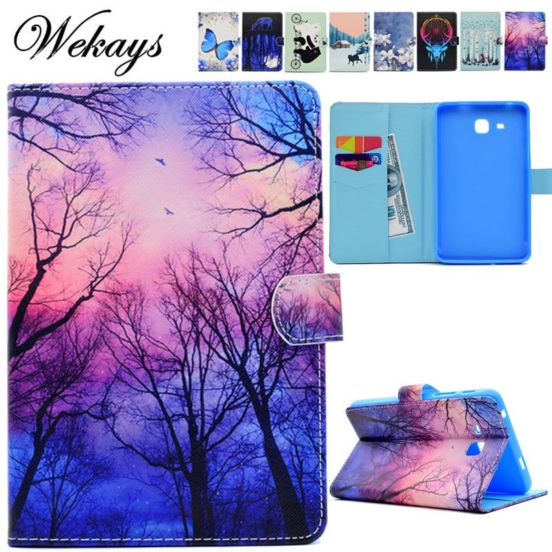 Wekays Para Samsung Tab 2016 T280 Flor Dos Desenhos Animados Caso Funda de Couro para Samsung Galaxy Tab Um A6 7.0 T280 T285 Tablet Da Tampa Do Caso
