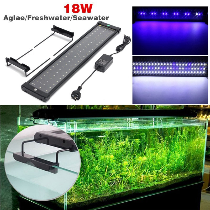 70-90cm Adjustable Aquarium Fish Tank Lamp 108 SMD Led Light 90 White +18 Blue Lighting 18W AU EU UK US Plug70-90cm Adjustable Aquarium Fish Tank Lamp 108 SMD Led Light 90 White +18 Blue Lighting 18W AU EU UK US Plug