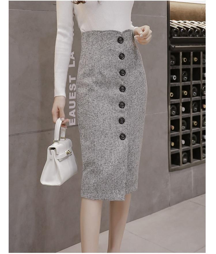 Neophil High Waist Woolen Button Pencil Midi Skirts Office Ladies Office Elegant Grey 19 Winter Wool Wrap Skirts Faldas S1738 7