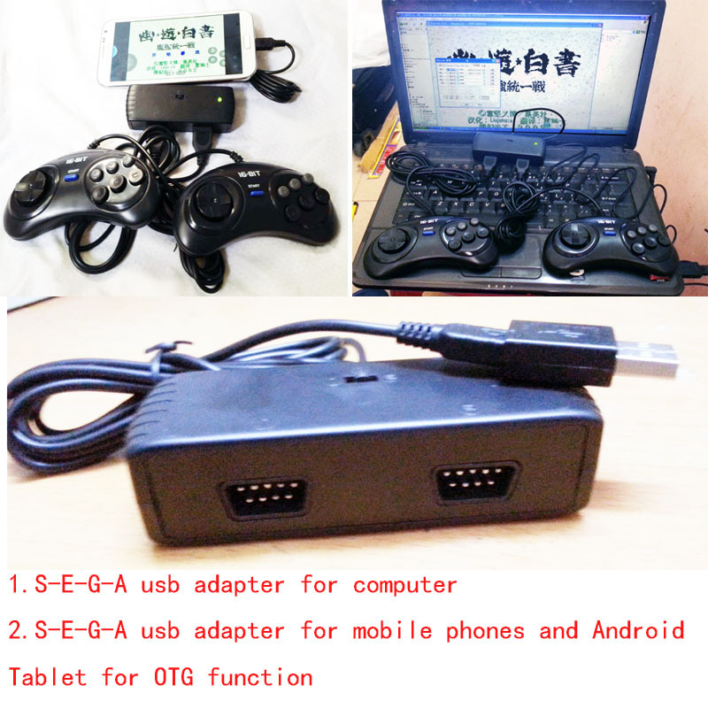 2 Players Controller OTG USB Adaptor for SEGA GENESIS, MD, Atari BlackJoystick Controller, for STEAM, Android, PC, MACSystem