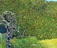 Gold Paintings Golden Apple Tree Luxury Line Gustav Klimt Reproduction Canvas Art Hand Painted High Quality