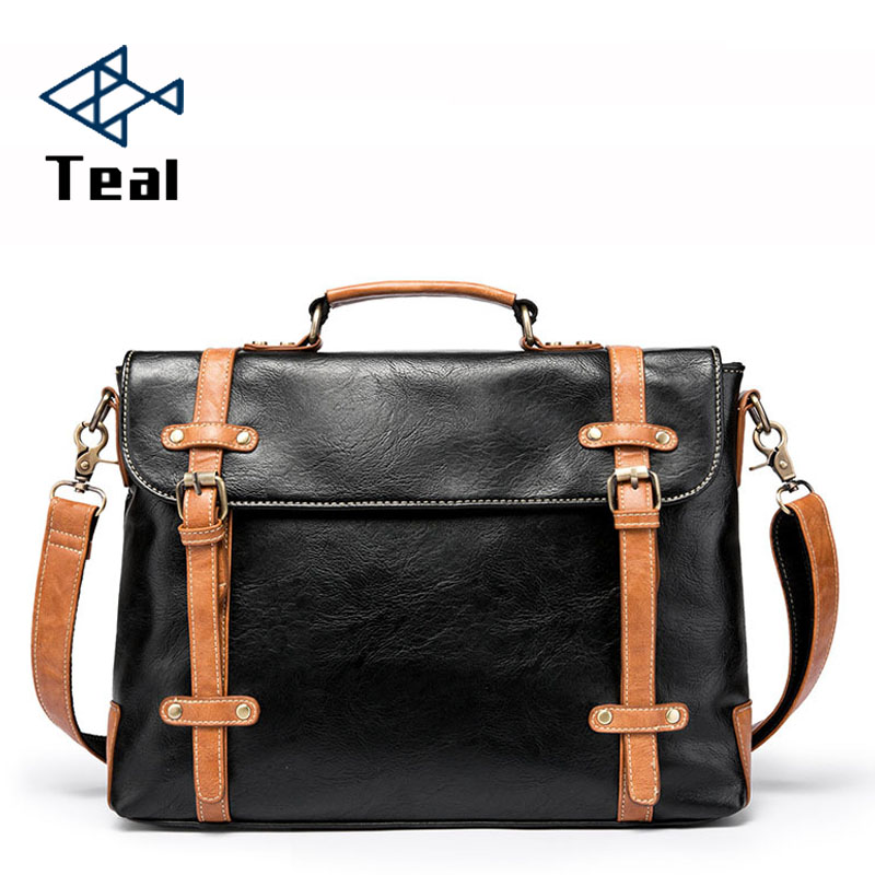 Men Briefcase Leather Shoulder Bags Vintage Crossbody Bags Business Office Handbags Men's Travel Laptop Bag Moto Style