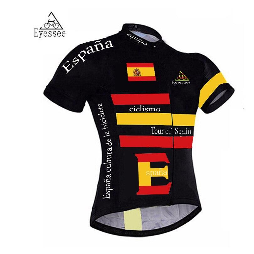 Цена за Eyessee профессиональный велосипед clothing Тур Испании велоспорт Трикотажные Изделия/2017 ciclismo с коротким рукавом национальный флаг прокат одежды