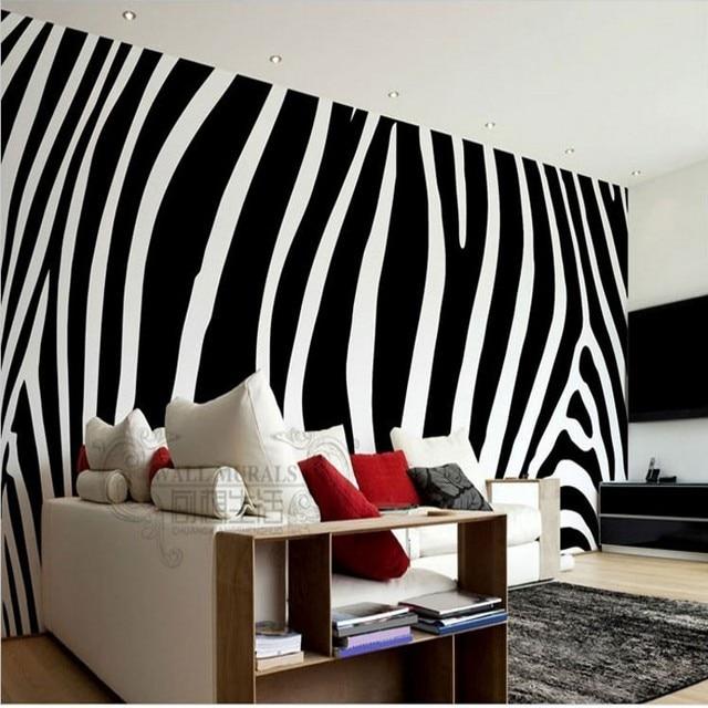 Beibehang Papel De Parede Noir Blanc Mode Zèbre Personnalisé Papier