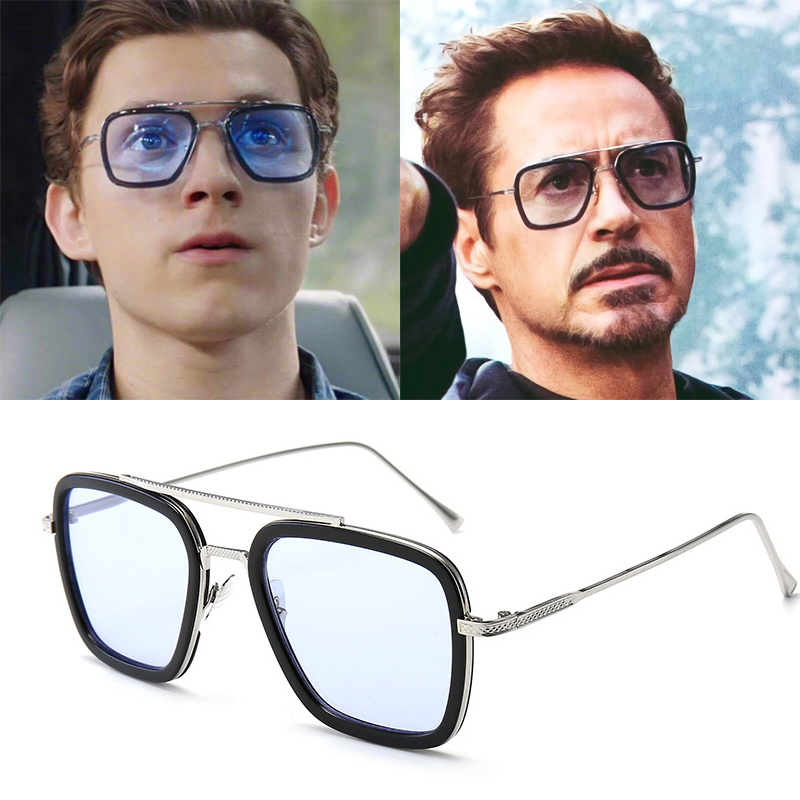 Iron Man Sunglasses Square Robert Downey TONY STARK Pilot Glasses UV400 For Men