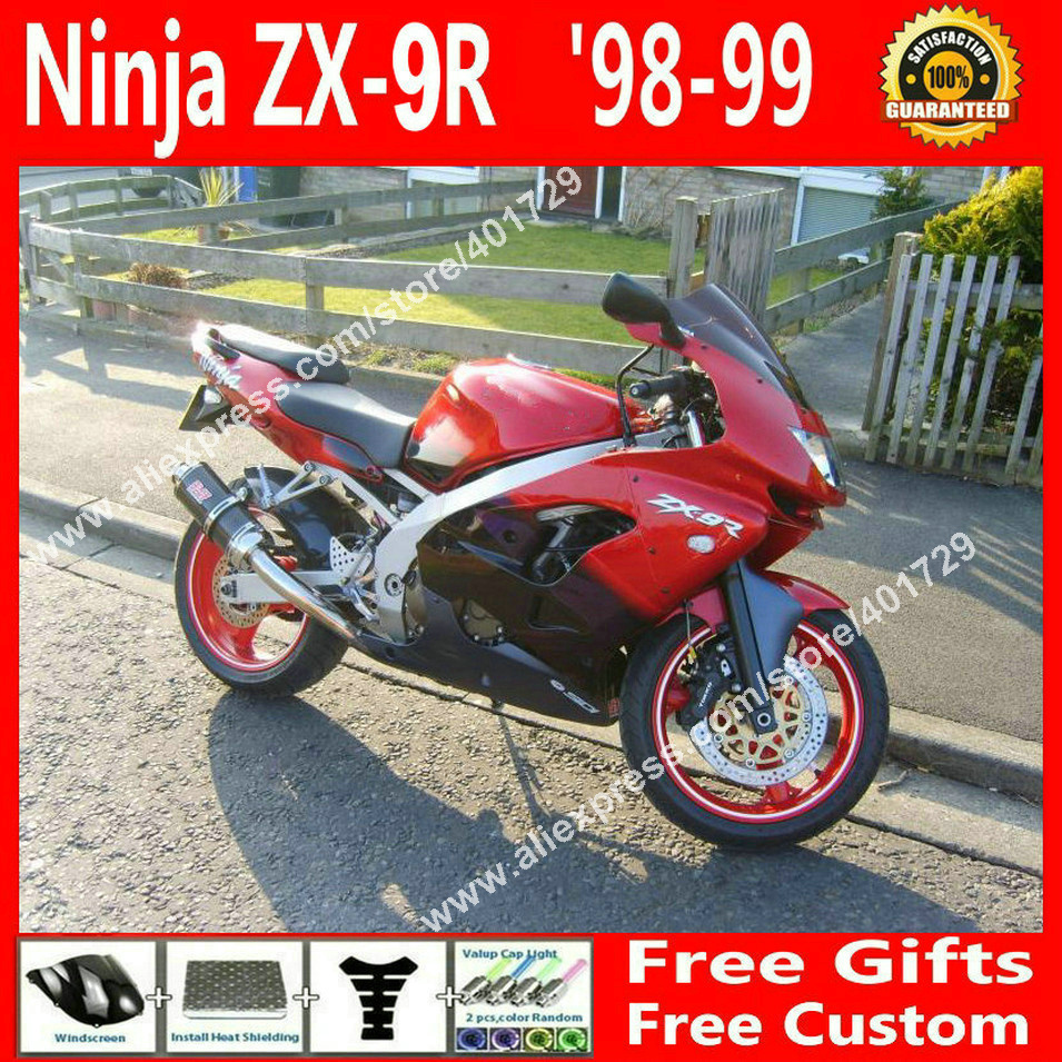 Brand new Fairings for motorcycle 1998 1999 Kawasaki ZX9R 98 99 zx9 glossy red bodywork fairing 6 gift CF435