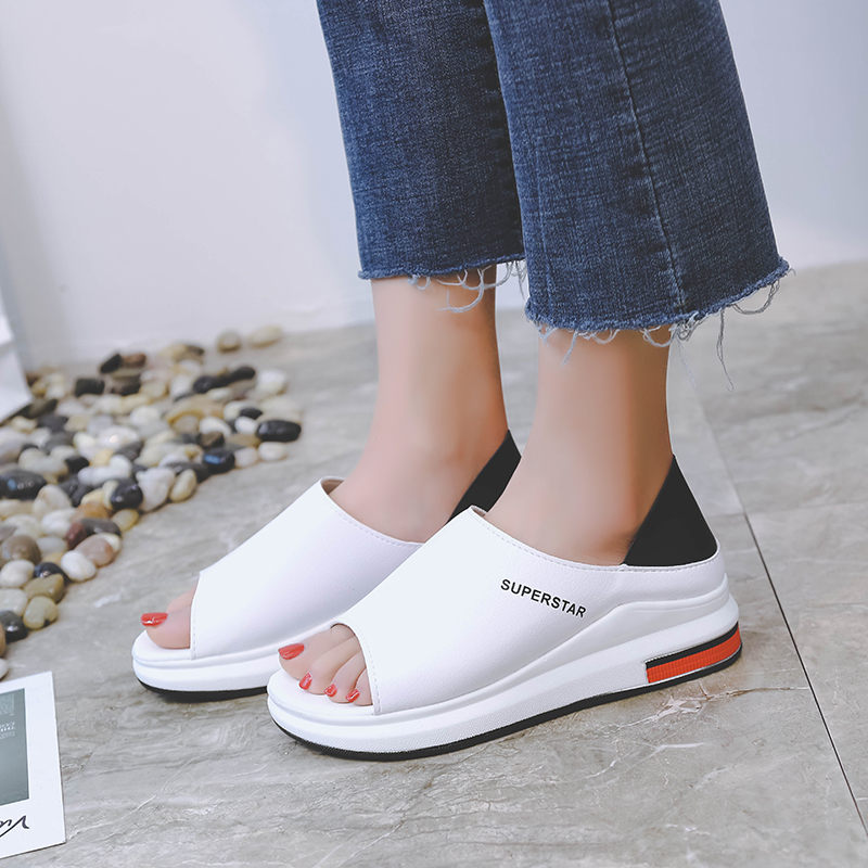 2019 New Fashion Women Sandals Summer Platform Sandal Shoes Woman Peep Toe Leather Beach Flat Casual Sandalias Mujer Plus Size