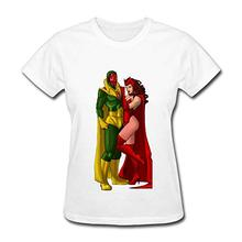 430afacf15f 100% хлопок O шеи Swag видения и Алая ведьма женские футболки(China)