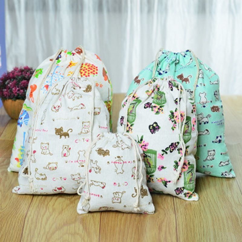 Cute Cartoon Cat Canvas Drawstring Cosmetic Bag Travel Make Up Case Organizer Storage Makeup Pouch Toiletry Beauty Wash Kit Box