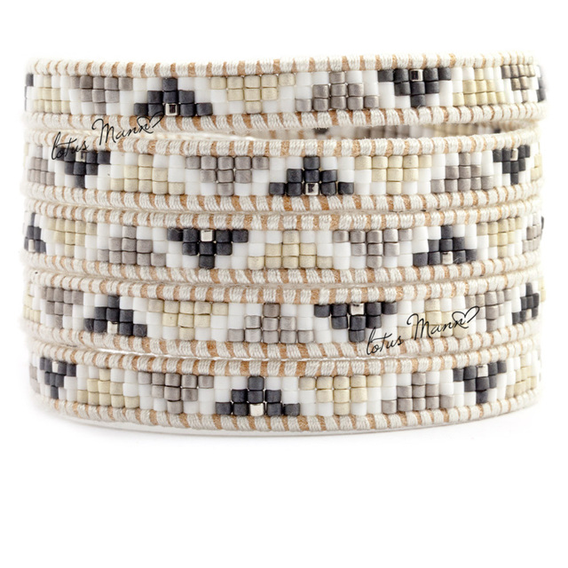 Lotus mann black and white style beads mixed triangle 5 circle pattern leather cord bracelet