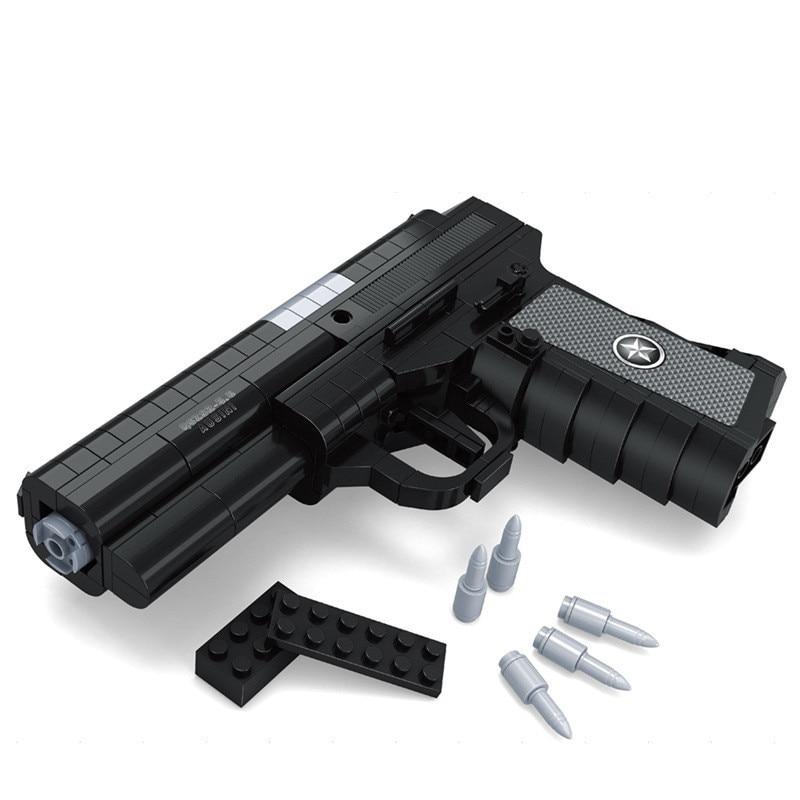 AUSINI 327Pcs Gun SWAT Magnum Revolver Pistol Power GUN Weapon Arms Model Toy Bricks Building Blocks Toys For Children