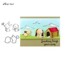 JC Rubber Stamps and Metal Cutting Dies Scrapbooking Craft Rabbit Dog Animal Stencil for Card Making Album Diy Sheet Decoration