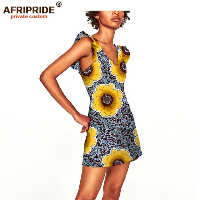 2019 women summer dress AFRIPRIDE private custom sleeveless V-neck mini beach dress plus size pure cotton sexy dress A722558