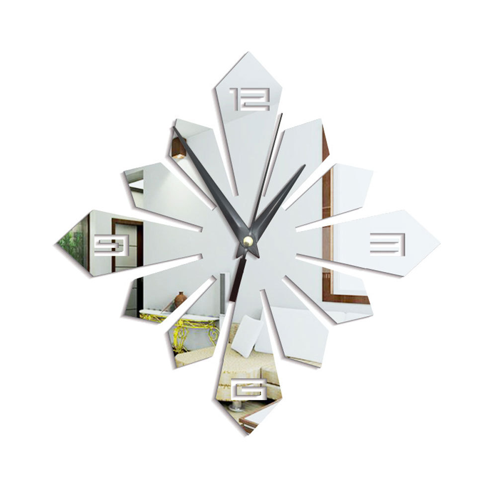 Decorated living room mirror mute Creative wall clock Geometric clock mirror gold sliver acrylic self adhesive wallsticker in Wall Clocks from Home Garden