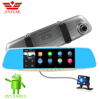 Anstar 6.86 Inch Car DVR Dual Camera IPS Touch Android 4.4 GPS Navigation FHD 1080P Dash Cam Rearview Mirror Video Recorder
