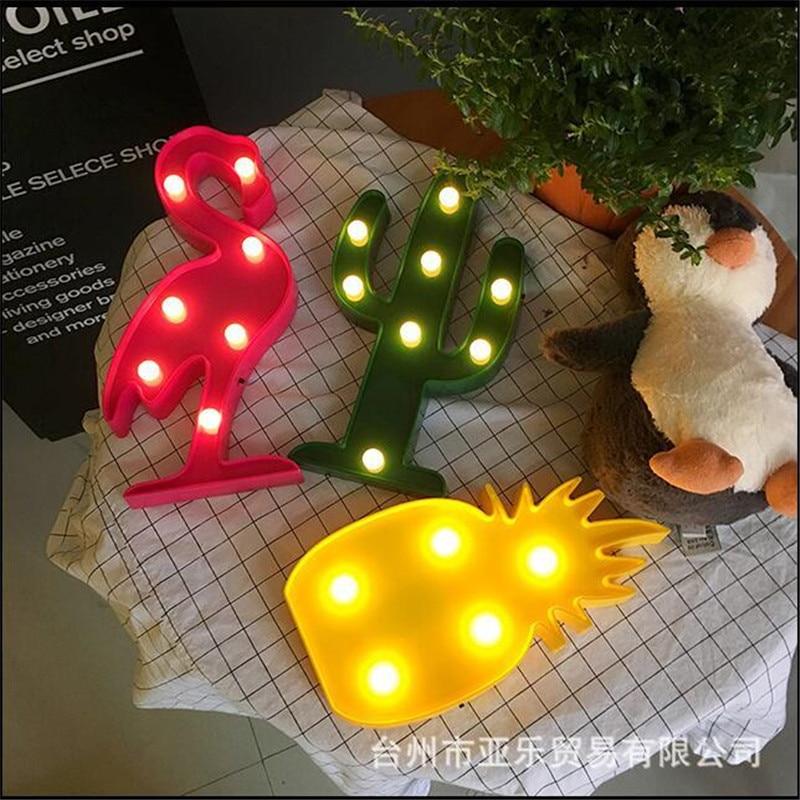 Chic Korean Flamingo Cactus Pineapple LED Lamp Children's Room Decorated With Shiny Lamp Night Light