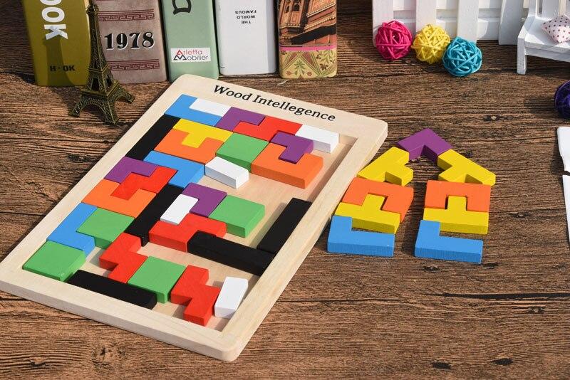 Atacado 100 Pcs/Carton Tetris Puzzle Brinquedo De Madeira Do Jogo Da Família de Construção Geométrica Tangram Criança Brinquedos Do Bebê Presente de Aniversário - 3