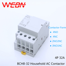 BCH8-32 Series 4P 32A Auto Operation AC Household Contactor 230V/250V 50/60Hz Contact 4NO/2NO+2NC/3NO+1NC/4NC Din Rail Contactor стоимость