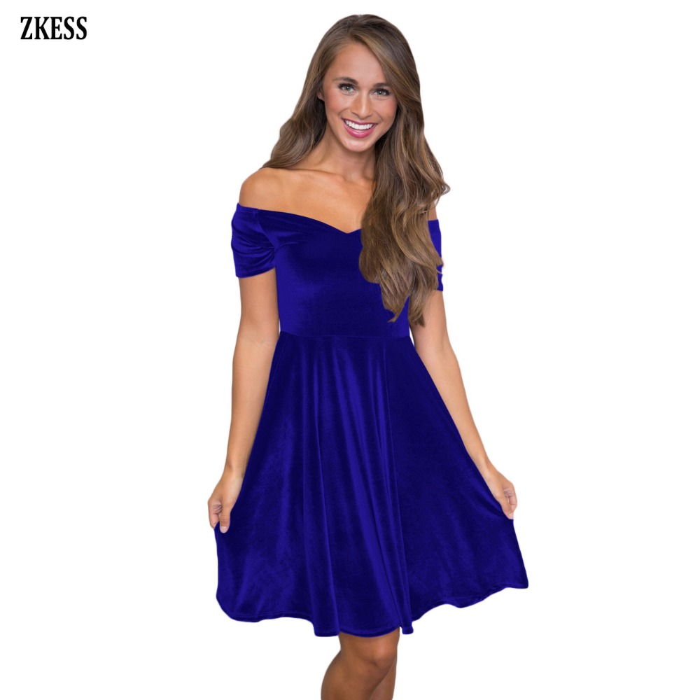 b2d07ed95088 Zkess Women Cute Sweet Velvet Off Shoulder Pleated Swing Dress Slash ...
