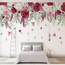 Custom wallpaper simple hand-painted retro rose sofa living room wall Nordic high quality material waterproof