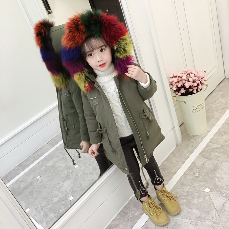 Girls cotton coat 2018 winter new style fashion colored fur collar coat children's children's coat 2 colors 2016 new fashion fur collar women coat sexy ladies wool sweater double breasted thick skirt cotton dress 3 colors size s 2xl page 4 page 5 page