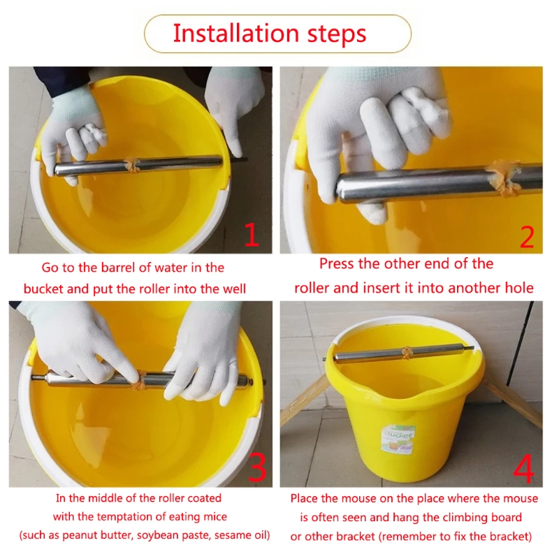 Mouse Catcher Cylinder Stick Stainless Steel Mice Rat Trap Roller Rodent Capture catching mouse intelligently in Traps from Home Garden
