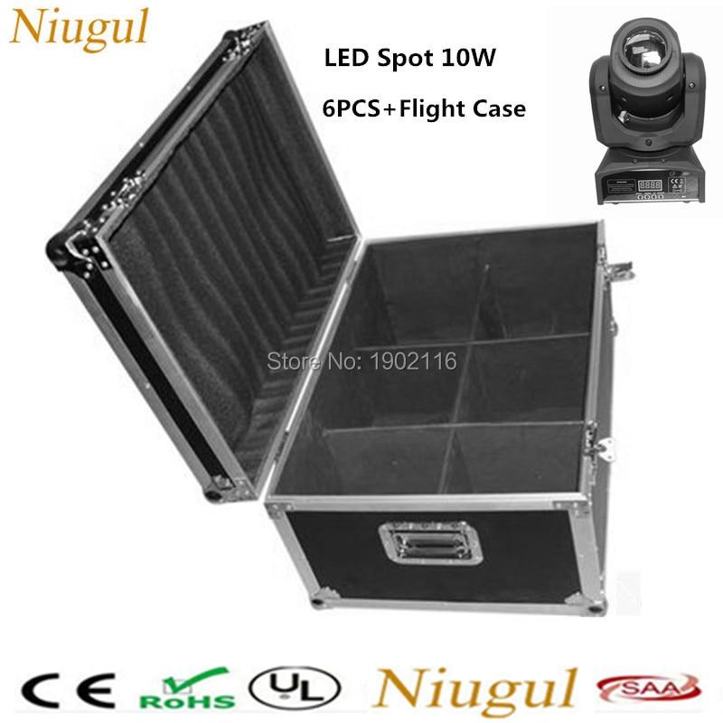 6pcs/lot with a flight case for 10W LED Spot Moving Head Light/10W LED gobo Light /DMX LED patterns lights disco dj lighting