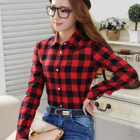 2019 Spring New Fashion Casual Lapel Plus Size Blouses Women Plaid Shirt Checks Flannel Shirts Female Long Sleeve Tops Blouse Pakistan