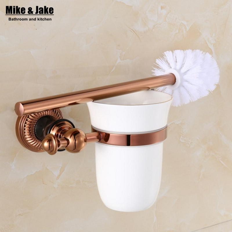 ceramic cup household brush kit bath brush holder bathroom accessories luxury rose golden finish toilet brush
