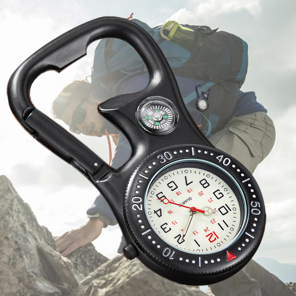 Multifunctional Clip-On Carabiner Pocket Watch Nurse Watch Compass Bottle Opener for Doctors Chefs Luminous Outdoor Sport Clock
