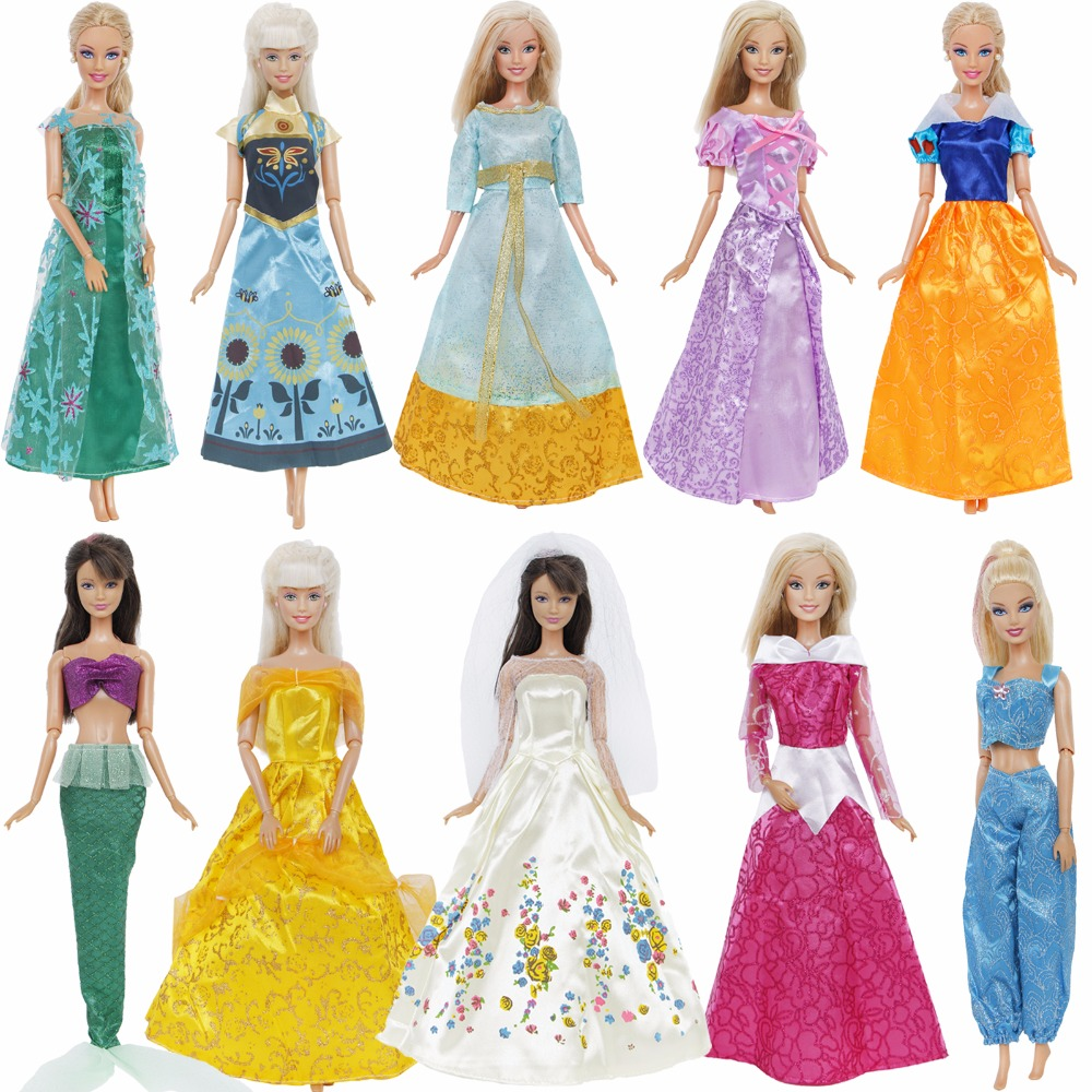 1 Pcs Fairy Tale Princess Dress Copy Snow White Cinderella Anna Belle Princess Gown Skirt Clothes For Barbie Doll Accessories