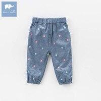 DBA6555 dave bella spring infant baby girls dots print full length fashion pants children toddler pants girls trousers