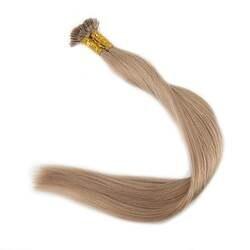 Полный блеск пепельный блондин плоским наконечником волос Цвет #18 предварительно скрепленные Расширения 0,8 г на нитке 40g 100% человеческих