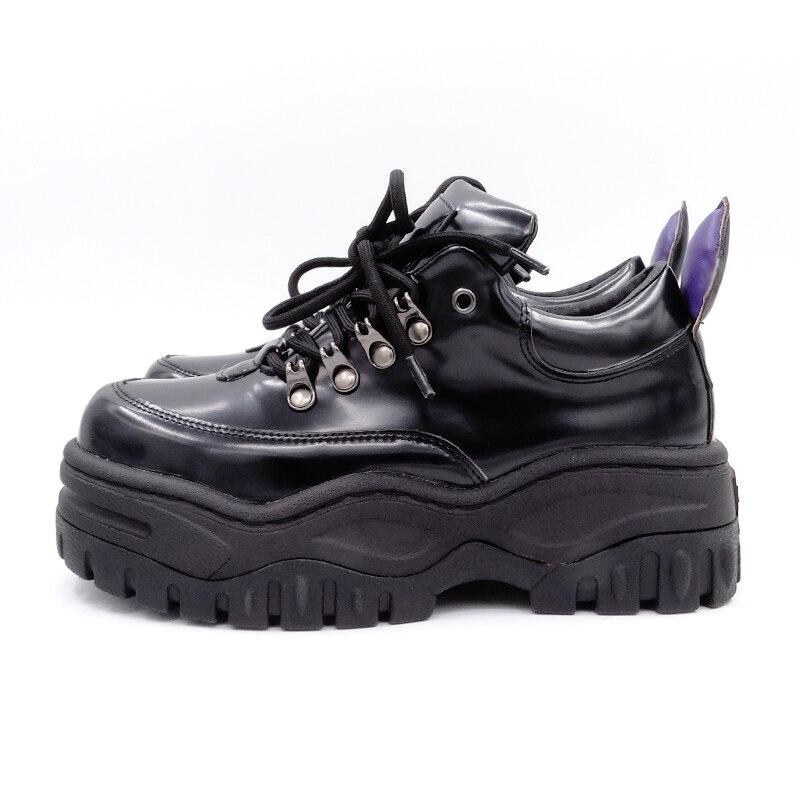 جديد 2019 الخريف حذاء كاجوال النساء السود أحذية منصة الزواحف السيدات الشقق الأحذية المتناثرة الزاحف حذاء مريح-في أحذية نسائية مسطحة من أحذية على  مجموعة 3