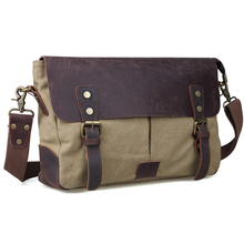 TIDING leather and canvas messenger bag vintage canvas shoulder bags for men canvas satchel 11413