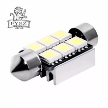 цена на 2 Pcs 38mm 5050 6 SMD White Festoon LED Light Error Free Canbus Lamp for Car