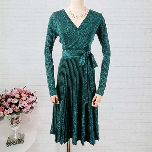da95fc5eb 2018 New Fashion Long Sleeve Knitted Winter Dress Women Sexy V Neck ...
