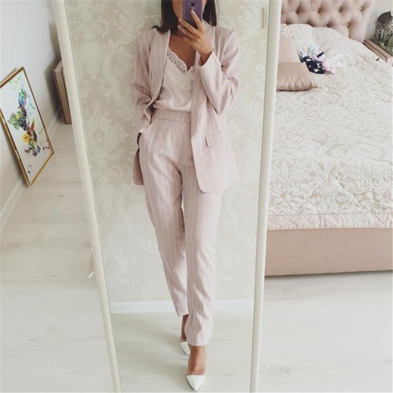 Taotree rayé bureau dame costumes travail pantalon costume pour femmes sans bouton Blazer veste et pantalon 2 pièces ensemble